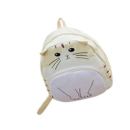 Longra Sacchetto di spalla del gatto del fumetto, zaino di svago, sacchetto dellallievo Beige