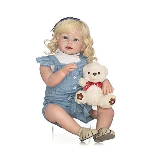 LVYE1 Muñecos bebé,Realista Recién Nacido A la Chica Full Silicone Reborn Baby Doll Ojos Abierto 28 Pulgadas, 70 cm
