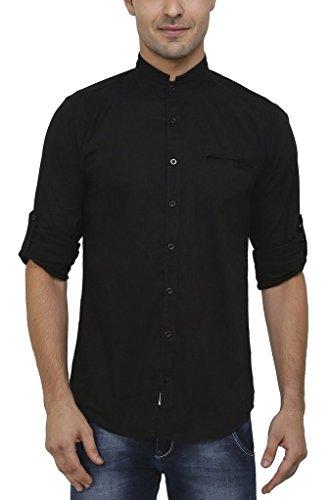 nick&jess Herren Schwarz Mao Kragen Baumwolle Lycra Slim Fit Shirt Gr. L(Brust:52/53,Schulter:49/50), Schwarz (Lycra-hemd)