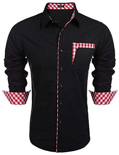 Coofandy Coofandy Herren hemd regular fit Kontrast Innen Langarm Freizeithemd Kleid Shirts (S, Black)