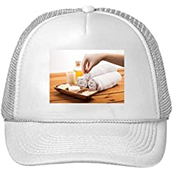 Hand With Pink Salt And Bath Stuff Adjustable High Profile Trucker Hat Cap White