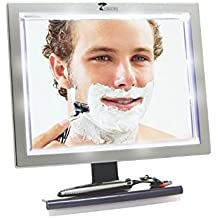 Deluxe LED Fogless Shower Mirror with Squeegee by ToiletTree Products. Guaranteed Not to Fog, Designed Not to Fall. 20% Larger Then Our #1 Selling Original Mirror.
