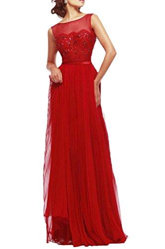 ivyd ressing robe mousseline & tuell Long Col rond Prom Lave-vaisselle Vêtements Robe du soir Rouge - Rouge