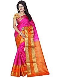 SATYAM WEAVES WOMEN'S ETHNIC WEAR JARI BORDERED COTTON SILK PINK-ORANGE COLOUR SAREE. (TUBELIGHT PINK-ORANGE)…