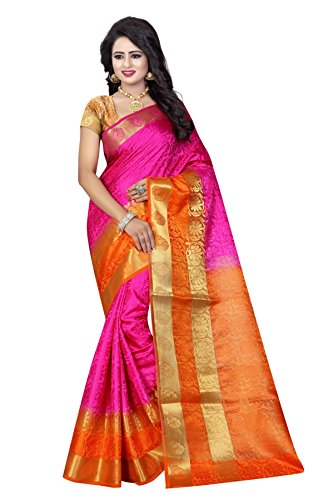 SATYAM WEAVES WOMEN'S ETHNIC WEAR JARI BORDERED COTTON SILK PINK-ORANGE COLOUR SAREE....