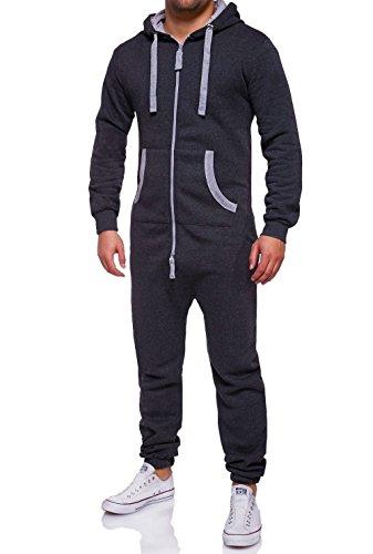 Jumpsuit Für Männer (MT Styles Jumpsuit Overall Trainingsanzug R-5106 [Dunkelgrau,)