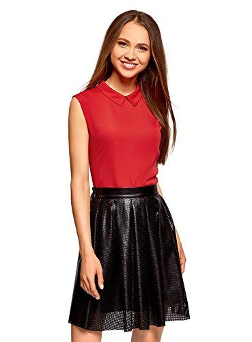 oodji Ultra Damen Ärmellose Bluse Basic mit Kragen, Rot, DE 42/EU 44/XL