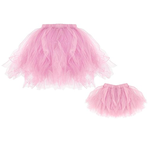 TUDUZ Faschingskostüme Kinder & Damen Minirock Tüllrock Unterrock Sommer Plissee Tutu Ballett Röcke Fancy Party Cosplay Rock (Rosa-Kinder & Mutter) (Plissee Rock Anzug)