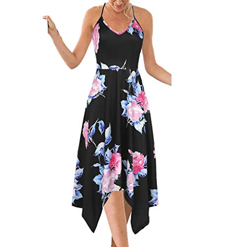 Floral Ruffle Halfter (MCYs ❤ Damen Casual Sexy ÄrmellosBackless Printed Halfter Knielanges Kleid)