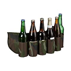 Idea Regalo - Relaxdays Cintura Porta Birra, per 6 Lattine & Bottiglie, 0,2 - 0,5 l, Cintura Mimetica, Regolabile, Verde/Marrone