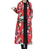 JMETRIC Mode im Ethno-Stil Langen Mantel Blumenmuster Baumwolle langärmelige Revers Tasche Knopf Mantel