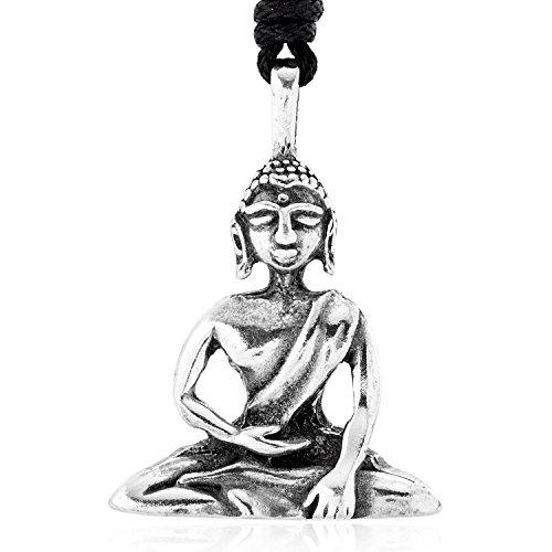 Llords Schmuck Halskette mit meditierendem Buddha Anhänger buddhistisches Amulett, feinster Zinn Metall Modeschmuck (Buddhistische Kostüme)