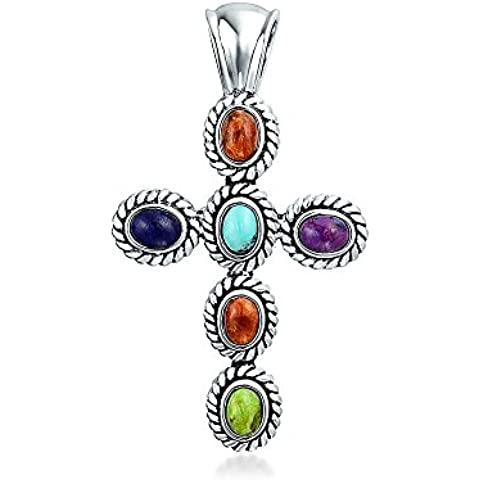 Bling Jewelry 925 Croce D'Argento Turchese Corallo Lapis Pendente Verde Turchese