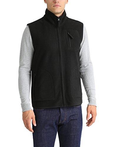 Lower East Herren Fleeceweste mit Reißverschlusstaschen, Schwarz, L