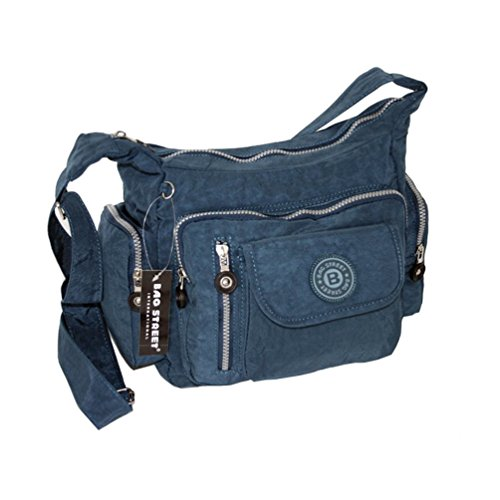 Bag Street  Crinkle Nylon 2218, Borsa Messenger  Uomo marrone Braun2 blue