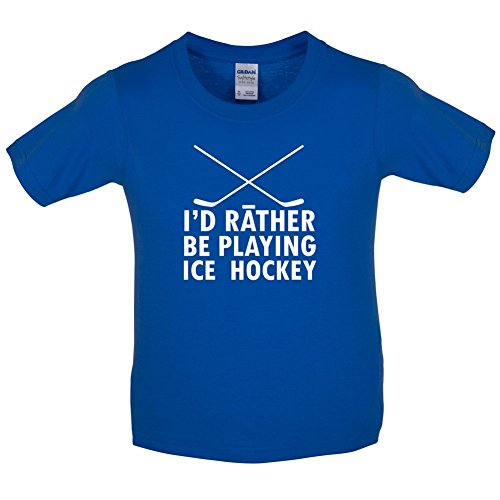 Dressdown Id Rather Be Playing Ice Hockey - Childrens / Kids T-Shirt - Royal Blue - L (9-11 Years)