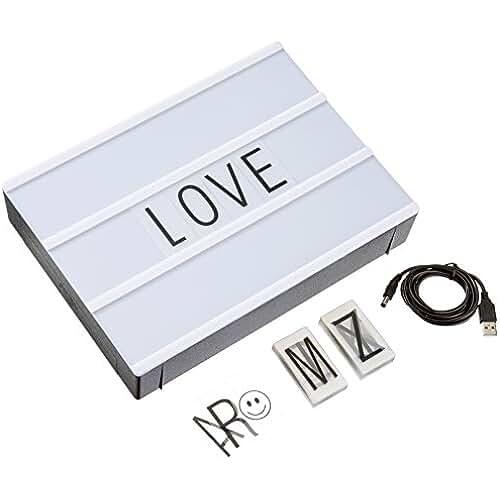 Cajas de luz LED A4 Cartas de bricolaje, LitEnergy Cajas de luz cinemáticas con 90 letras y símbolos negros personalizables para decoración Habitación/Fiesta/Boda/Cumpleaños/Familia/Tienda