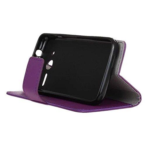 JIALUN-étui pour téléphone Solid Color Kasi Texture Housse en cuir PU Housse Flip Stand Case Portefeuille avec carte Cash Slots pour Alcatel PIXI 4 4.0 ( Color : White , Size : Alcatel PIXI 4 4.0 ) Purple