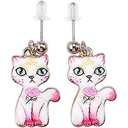 LUOEM Cute Cat Earrings Vintage Pets Ear Pendant Lovely Gift para niña Mujer (Rosa y Blanco)