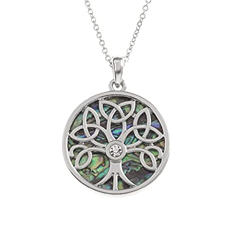 Kiara Jewellery Reversible Celtic Tree Of Life Pendant Necklace Inlaid With Bluish Green Paua Abalone Shell with inset glass stone on 18