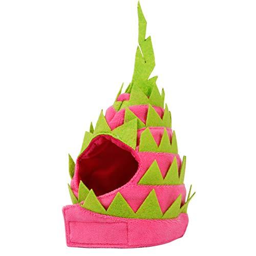 Velvet Nylon Kostüm - Amosfun Lustige Haustier Kopfkappe Drachenfrucht Form Hut Fancy Headgear Halloween Weihnachtsdekoration Kostüm Zubehör für Katze Hund Welpen (S Rosa und Grün)
