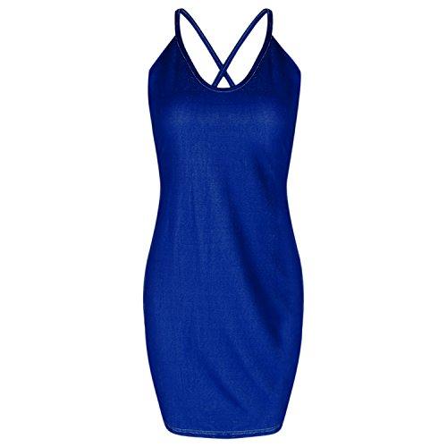 Chouette Femme Mini Robe Sans Manches Dos Nu Moulant Slim Bodycon Bandage Clubwear Bal Party Soirée Mariage Bleu foncé