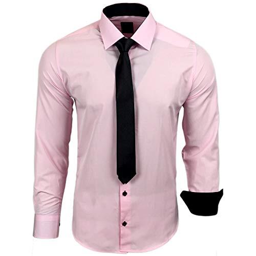 Rusty Neal 44-KR Herren Kontrast Hemd Business Hemden mit Krawatte Hochzeit Freizeit Fit, Größe:L, Farbe:Rosa (Rosa Slim Fit Hemd)
