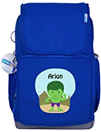 UniQBees Personalised School Bag With Name (Smart Kids Large School Backpack-Blue-Hulk)