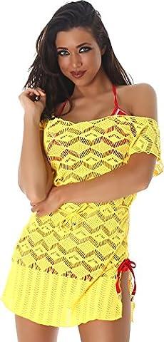 PF-Fashion Damen Kleid Mini Strandkleid Top Shirt Longshirt Rundhals-Ausschnitt Kurzarm Häkel Muster Tunika Netz-Optik Gelb 36/38