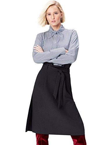 FIND Camisa con Cuello Anudado Para Mujer, Multicolor (Blue/White Stripes), 38 (Talla del Fabricante: Small)