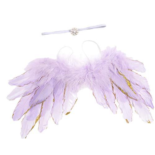Feder Kostüm Flügel Lila - LOVIVER Baby Newborn Winkel Feder-Flügel und Blumen Stirnband Fotografie Prop Kind Kleidung - Lila