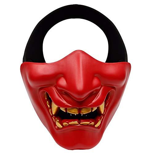 Kostüm Jagd Rot - WOSPORT Halbgesichtsschutz Halloween Cosplay Prajna Hannya Phantom Maske Taktische Jagd Kostüm Party Requisite, rot