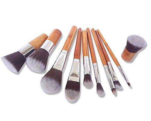 Autek psmGoods professionnels premium-cheveux synthétiques maquillage en bambou set de pinceaux cosmétiques à poignée blanc avec sac