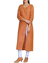 92e470e69a Unnati Silks Women Brown Pure Rajasthani Cotton Front-Slit Kurta with  Kantha work and hand block prints from the…