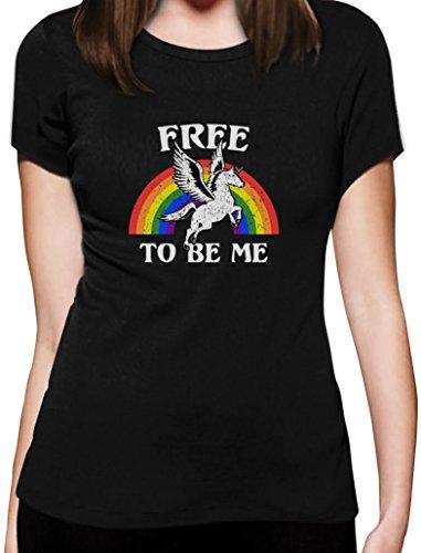 Free To Be Me Einhorn Regenbogen Motiv Damen T-Shirt Slim Fit Schwarz