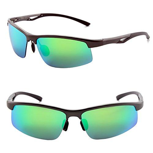 Männer Frauen Stil polarisierte Sonnenbrille Metallrahmen Sportbrillen (Gray, Grün Blau Grandient)