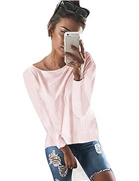 Mine Tom Minetom Mujeres Camiseta con Manga Larga Escotado Por Detrás Camisa Blusa T-Shirt Blouses Pullover Sudadera