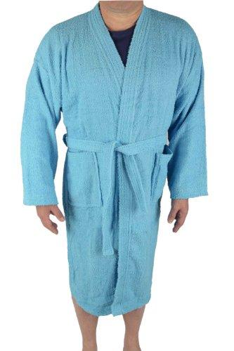 Herren Frottee Bademantel Kimono Style 100% Baumwolle in verschiedenen Farben, Blau, M (Langarm-frottee-bademantel)