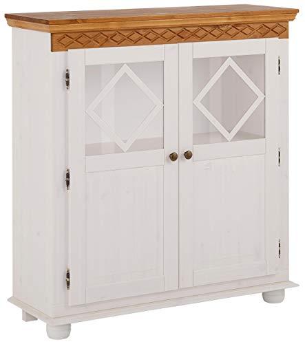 Loft24 Karen Highboard Schrank Vitrinenschrank Wohnzimmerschrank Glas Massivholz Kiefer Landhaus 2 Türen (weiß & Honig) -