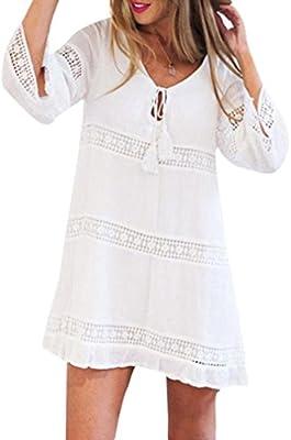 Vestido, ✽Internet✽ Vestido corto de la playa del cordón flojo de la manga del cuarto de tres del verano de las mujeres