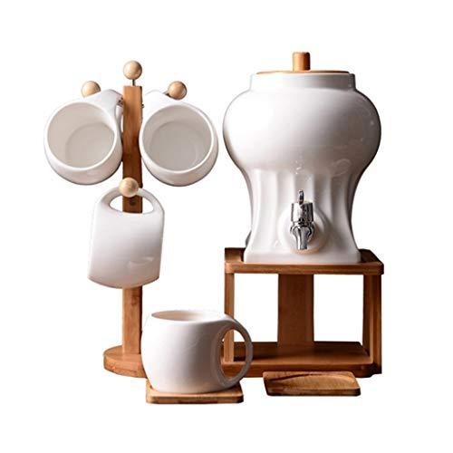 Getränkespender Keramik Wasserkocher Haushalt Kaltwasserkocher Schalter Wasserhahn Topf Hochtemperaturkühlkessel Retro Kaffee Teekanne Set XINYALAMP