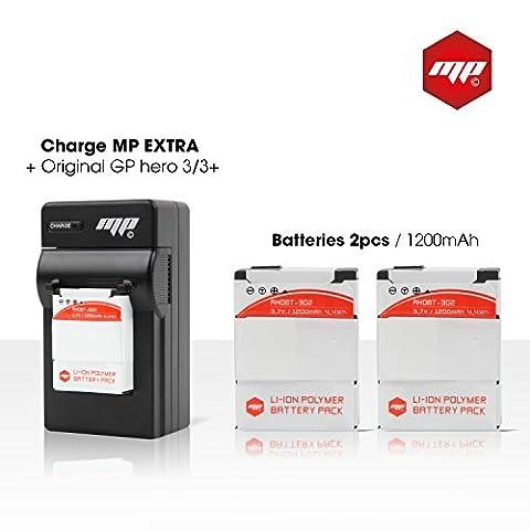 2 Akku für gopro 3+ und gopro 3 black silver white MP EXTRA® - capacity: 1200mAh - Ladegerät Europa / US / UK / Adapter für Auto / Box