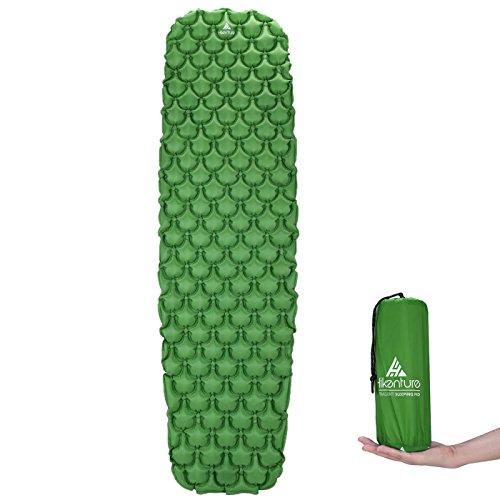 Hikenture Unisex Adult hiken03 Kleines Packmaß-Ultraleichte Isomatte-Aufblasbare Luftmatratze-Schlafmatte für Camping, Reise, Outdoor, Wandern, Strand (Türkisblau, Grün), Kissen 2, 1