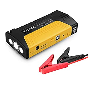 BOTKK Arrancador de Coches, 13200mAh, 600A Jump Starter Batería para Emergencias de con Pinzas Inteligente, para 5.5 L Gasolina o Diesel 4.0 L (3 Modos Linterna LED)