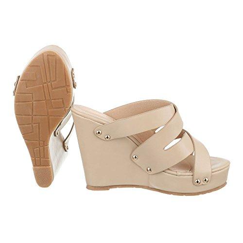 Pantoletten Damen Schuhe Jazz & Modern Keilabsatz/ Wedge Keilabsatz Ital-Design Sandalen / Sandaletten Beige