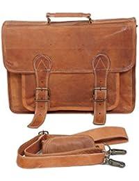 SR Big Pocket Vintage Genuine Brown Leather Handmade Laptop And Messenger Bag
