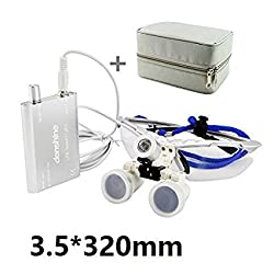 Denshine® Dental Surgical Medical Binocular Loupes 3.5X 320mm + LED Head Light Lamp + Carry Bag (Silver)