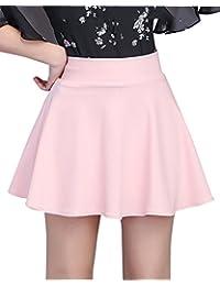 Mujer Cintura Alta Color Sólido Elasticidad A-Línea Falda Plisada Mini con  Pantalones… 55a1d6e586db