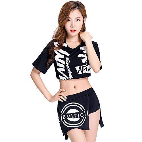 CLOTHES Basketball Baby Cheerleader-Kostüm, Fashion Print Top + kurzer Rock, Bar ds Kostüme, Personality dj Bühnenkostüm, Geeignet für Halloween/Cosplay/Tanzwettbewerbe