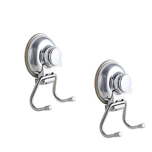 Confezione da 2, onerbuy in acciaio inox super resistente e ventosa doppia ganci, ganci asciugamano da bagno cucina utility holder